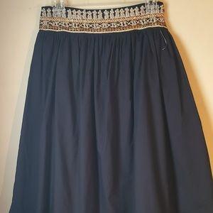 Willi Smith Gold Embellished Black Full Skirt 4